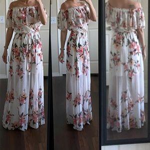 WHBM white pink floral off shoulder maxi dress